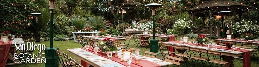 wedding reception setup a the san diego botanic garden surrounded by greenery