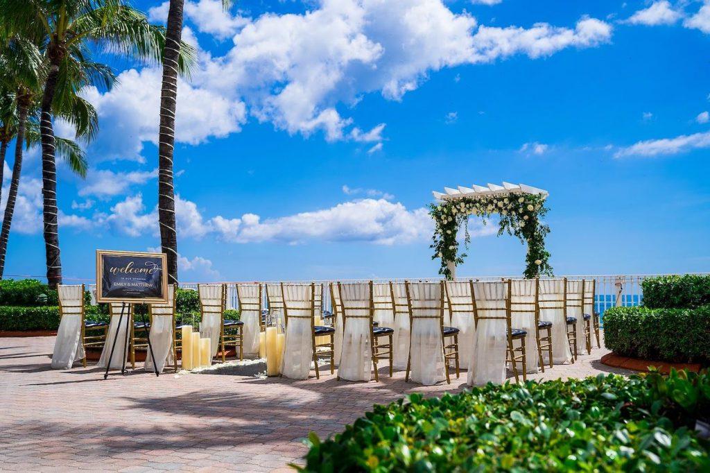 outdoor wedding ceremony set up at the Ocean Sky Resort wedding venue in Miami