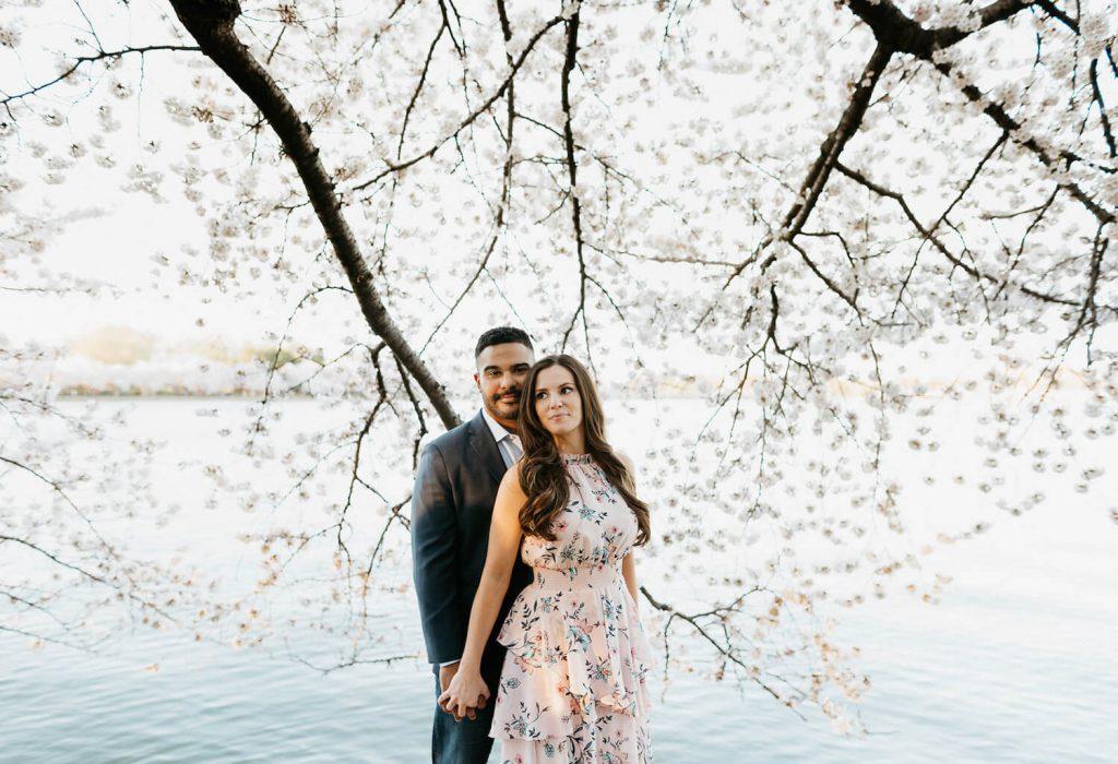 cherry blosson festival engagement photo dc